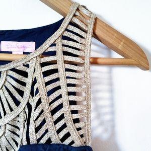 Lilly Pulitzer Dresses - 🌿Lilly Pulitzer Navy Blue & Gold Tana Dress